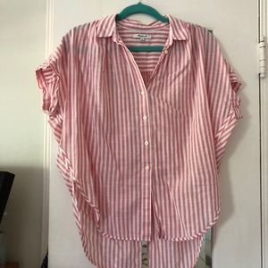Madewell Pink Striped Courier Blouse with Tie